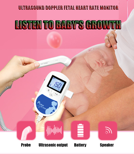 Fetal Doppler Fetal Ultrasound Baby Heartbeat Home Detector Pregnant Doppler Baby Heart Rate Monitor Pocket monitor 3.0MHz