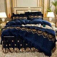 Juego de fundas de edredón acolchadas de terciopelo europeo, doble cama, tamaño King, colcha de lujo de encaje bordado, 2 fundas de almohada suaves de Color sólido
