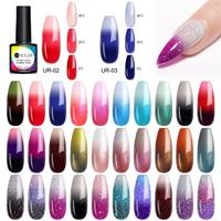UR ZUCKER 7,5 ml Thermische Glitter Soak Off UV Gel Polnischen Holographics Temperatur Farbe-ändern Lack Gel Nail art uv-lacke