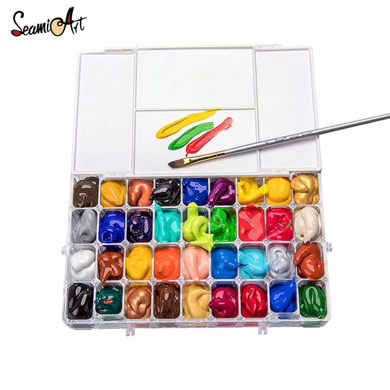 Seamiart 24/36 Grid Moisturizing Watercolor Painting Palette Professional Artist Water Color Palette For Painting Art Supplies