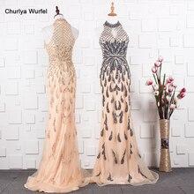 YY020 Churlya Wurfel ดูไบหรูหราชุดราตรีล่าสุดออกแบบชุด Halter ชุดราตรี Mermaid abendkleider 2020 kristall luxus