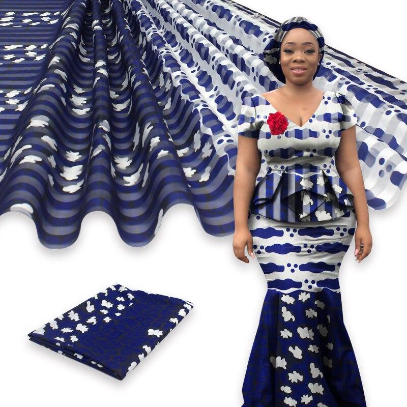 Offre spéciale tissu soie satin de Style Gahna   Avec ruban en organza, motif cire africaine, 4yards + 2yards par ensemble