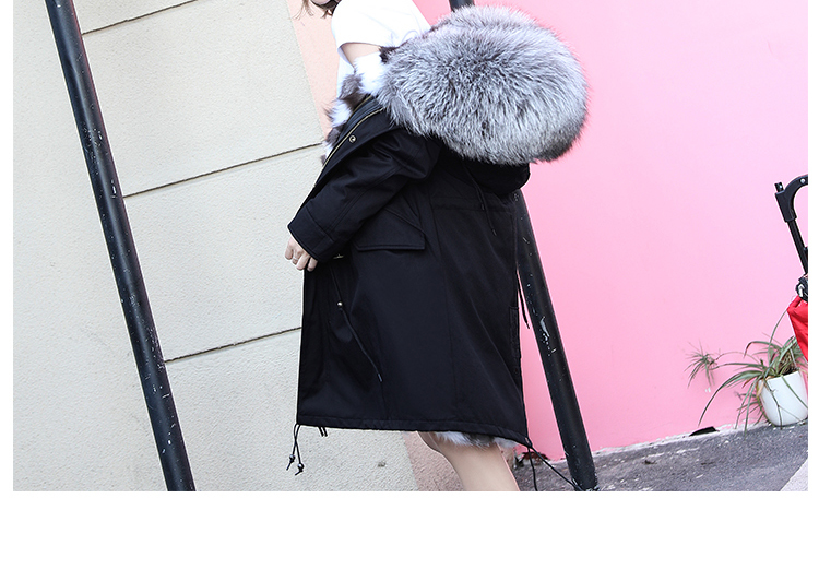 Women's Luxury Large Raccon Fur Collar Winter Fur Coat Natural Fox Fur Liner Parkas Overcoat Plus Size 2XL LX1035