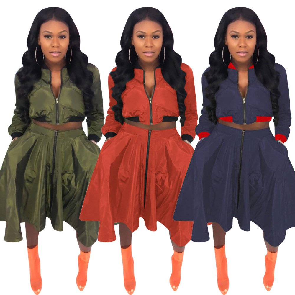 Plus Size Two Piece Set Clothes Zipper Long Sleeve Pleated Skirts Suits Tops + Skirts Casual 2 Piece Sets Womens Club Outfits