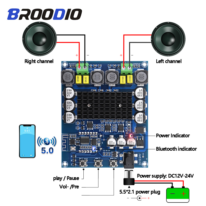 Bluetooth Digital <font><b>Amplifier</b></font> Board TPA3116D2 Bluetooth High Power <font><b>Audio</b></font> Class D Stereo <font><b>Amplifier</b></font> 2*50W With NE5532 Preamp <font><b>Pre</b></font>-amp image