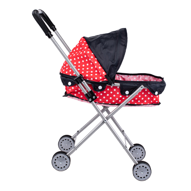 Simulation Foldable Dotted Baby Doll Stroller With Hood Kids Playhouse Toys 1