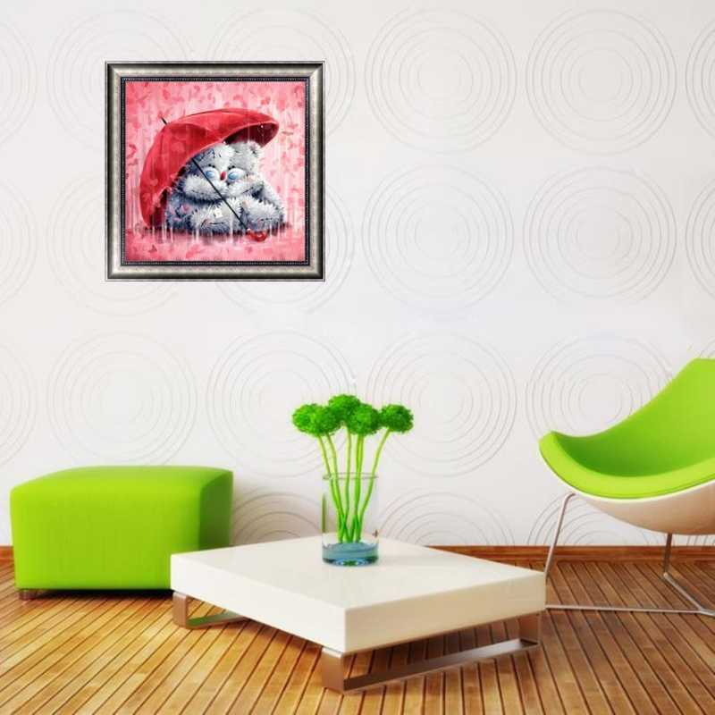 DIY 5D Diamond Bordir Beruang dan Payung Lukisan Cross Stitch Kerajinan Dekorasi Rumah