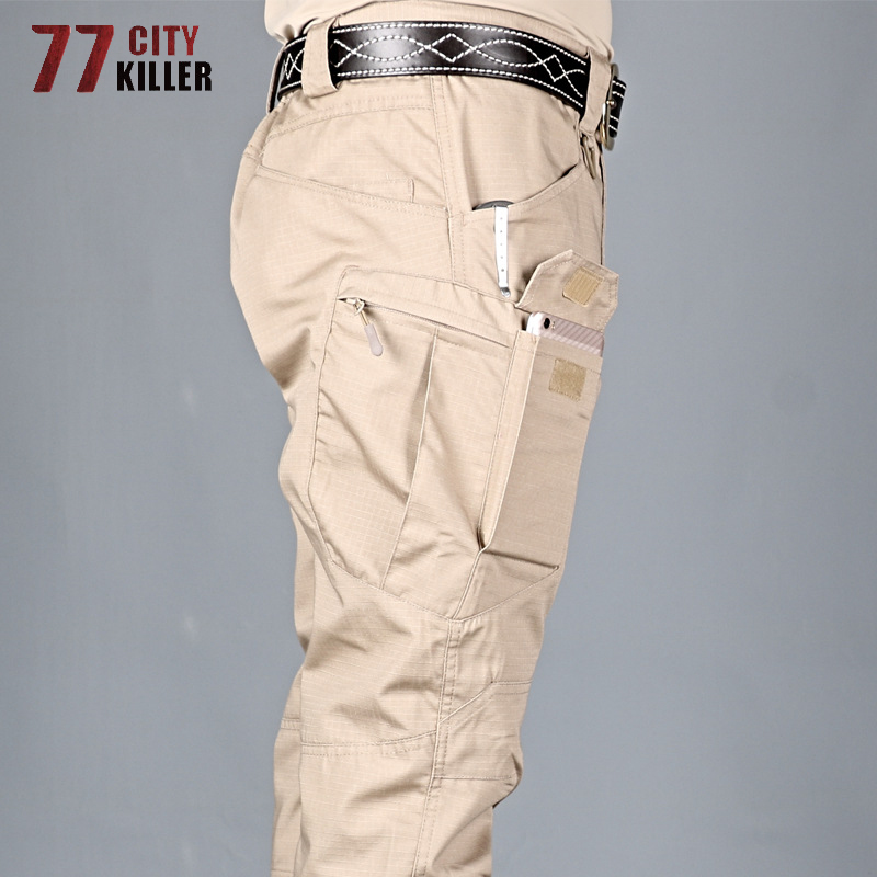 77City Killer Tactical Pants Men 5XL 6XL Elasticity Multi-pocket Military Commuter Trousers Men Slim Fit Waterproof Pants Male
