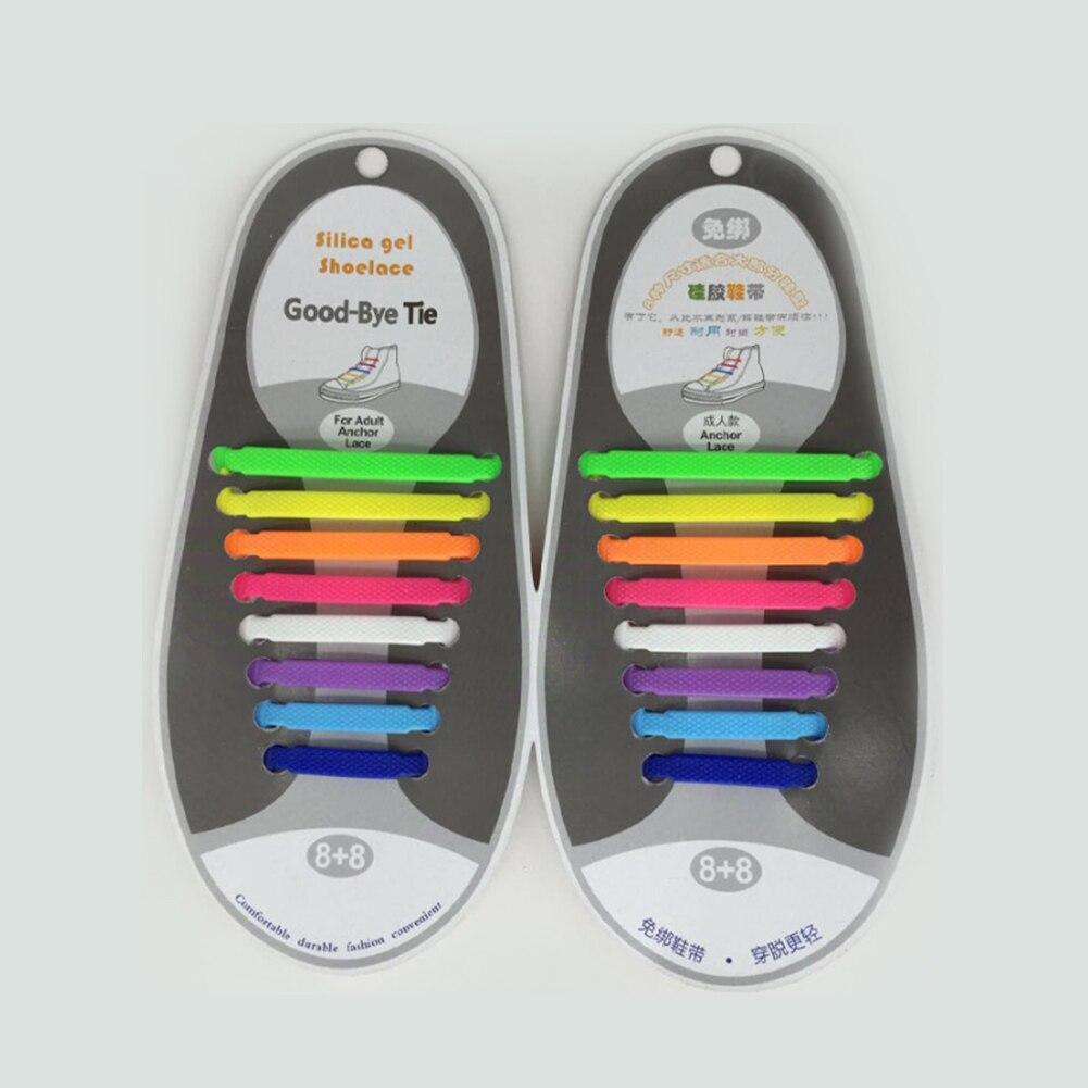 Multicolor No Tie Lazy Shoelaces For Kids And Adults 16Pcs/set Shoe Laces For Sneakers Convenient Silicone Shoe Strings Cordones