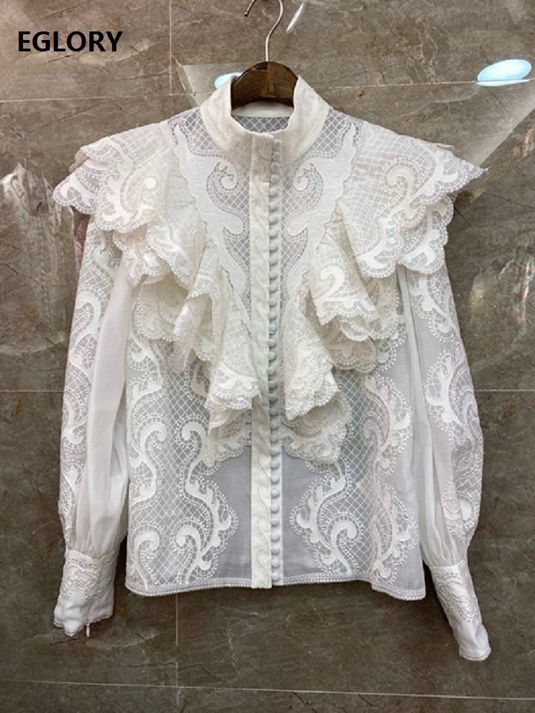 Tops Fashion Designer Blouses Shirt 2020 Spring Summer Style Women Ruffle Lace Embroidery Patchwork Long Sleeve Elegant Shirts