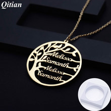 personalized Statement Family Tree Necklace For Women custom Name Gold Color Stainless Steel necklace Men Jewelry Christmas Gift(China)