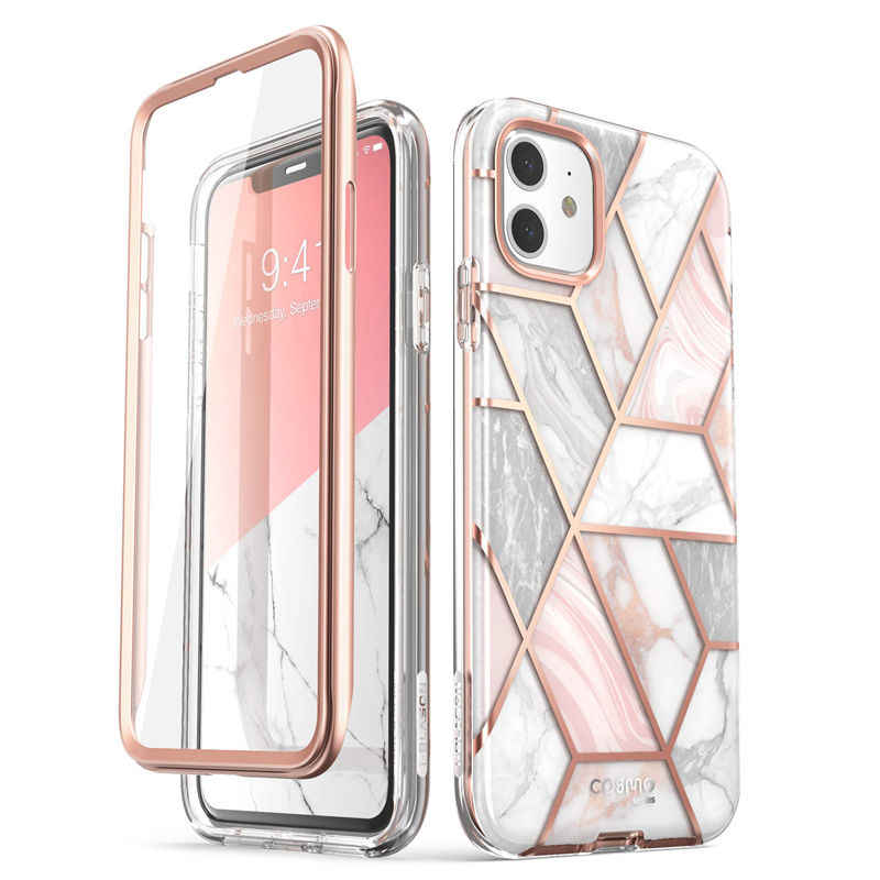 Aku-Blason untuk iPhone 11 Case 6.1 Inci (2019 Rilis) cosmo Full-Body Glitter Marmer Bumper Cover dengan Built-In Screen Protector