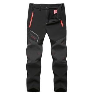 Image 1 - Wasserdicht Tactical Softshell Herren Hosen Fleece Dicke Warme Winter Herbst Hosen Männlichen Samt Jogger Zipper Tasche 2020 Kleidung