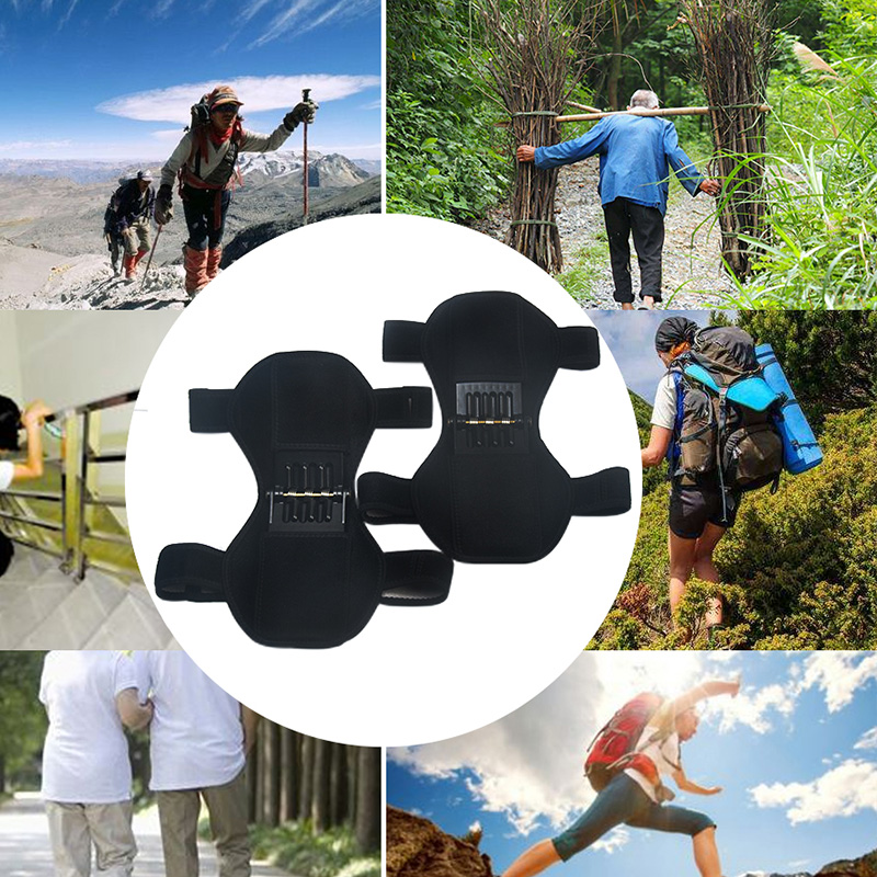Hot 1Pair Patella Booster Spring Knee Brace Support For Mountaineering Squat Hiking Sports Hh88