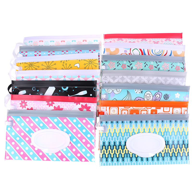 1PC Eco-Friendly Baby Wipes Box Wet Wipe Box Cleaning Wipes Carrying Bag Clamshell Snap Strap Wipe Container Case