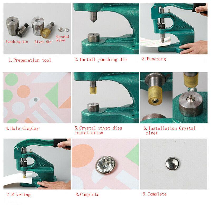 1 Set Crystal Rhinestone Rivet Dies Snap Tools Manual Punching Machine Back Base