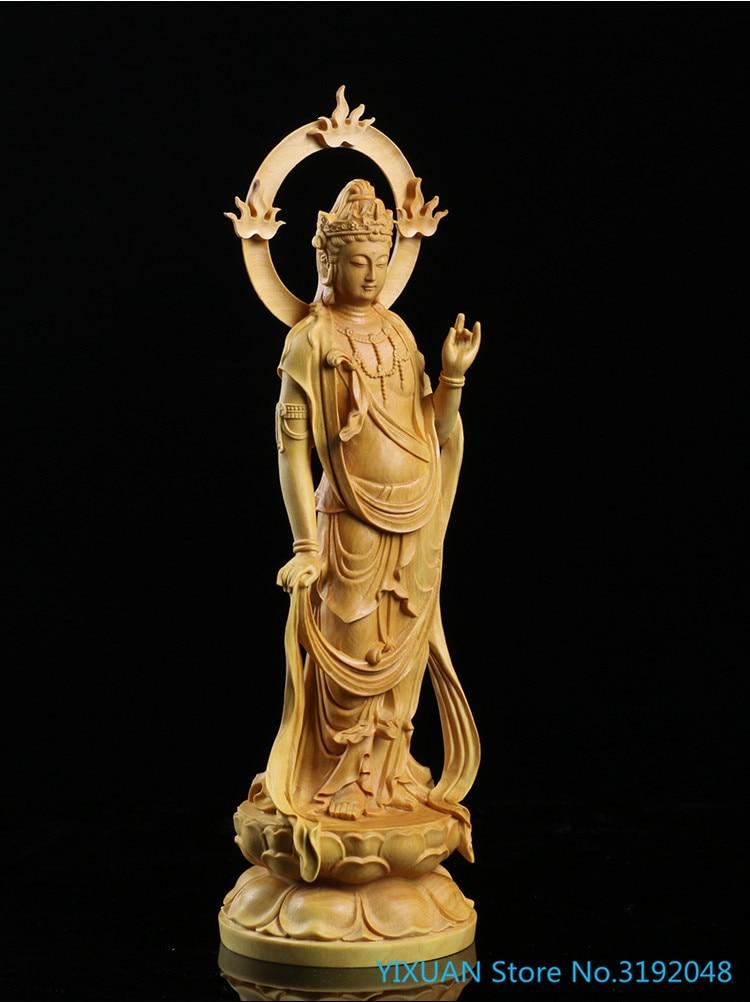 9″ Carved Boxwood Buddha/Bodhisattva