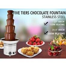 Большие новые 5 ярусов из нержавеющей стали вечерние гостиничные коммерческие 27 дюймов 68 см шоколадный фонтан