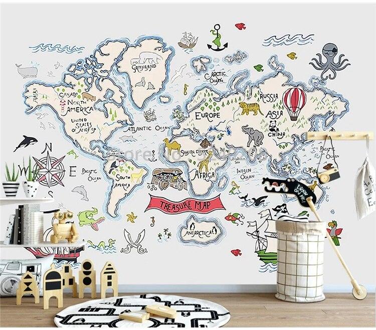 Bacal Custom 3D Wallpaper Cartoon World Map TV Background Wall Living Room Bedroom Children Room 3d Wallpaper Murals
