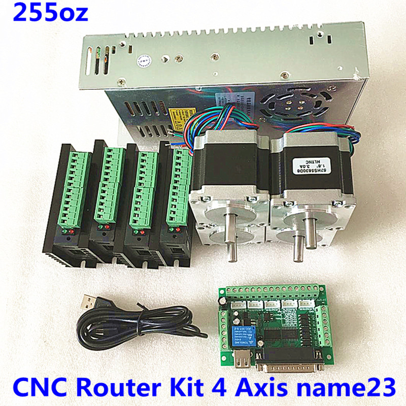 CNC Router Kit 4 Axis,4pcs Nema23  Stepper Motor  + TB6600  Driver+ MACH3 DB25 Interface Board+ 1 Power Supply 360w  24v