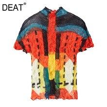 DEAT pilili bayan T-shirt kazak kısa kollu Hit renk desen standı ince ağır sanayi kat 2021 yeni yaz moda HT427