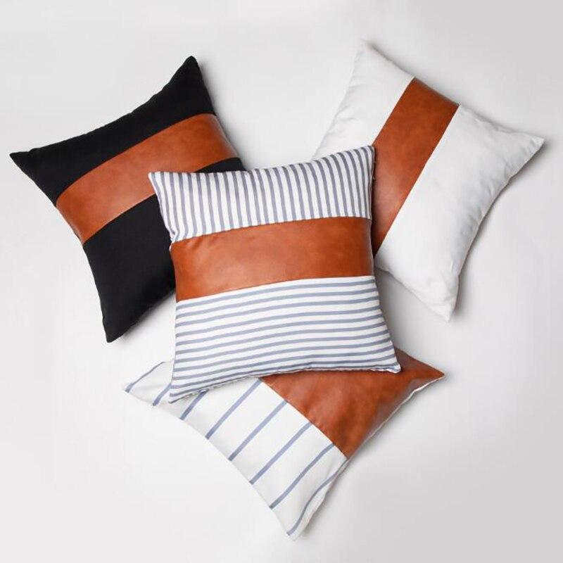 Housse de coussin simili cuir et tissus - 45x45cm
