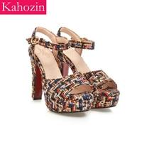 high heel sandals mujer 2019 pigskin lining Platform sandals women shoes party dress shoes ladies fresh woolen cloth high heels