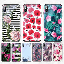 Babaite Tempered Glass Case For iPhone Xs Max Xr X 8 7 6 6s Plus Peony Rose Floral Flower Protective Phone Cases Back Cover Case(China)