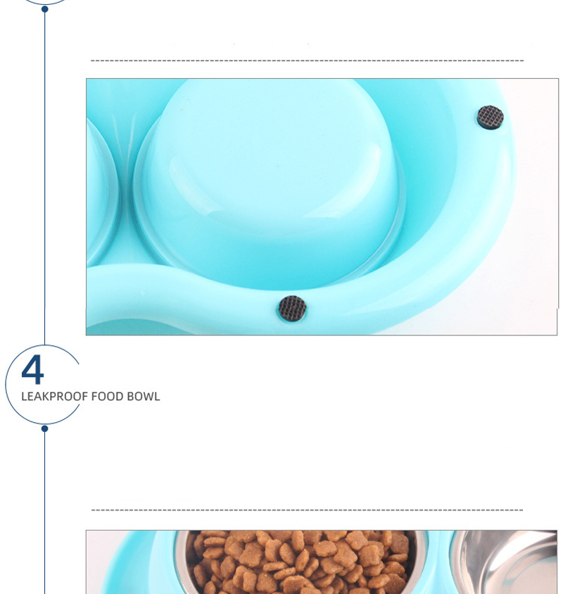 Pet Dog Stainless Steel PP Double Bowls Food Anti Ants Water Dog Bowl Cat Feeder Cat Pet Bowl