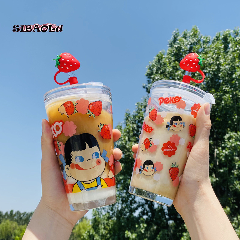 Cute Strawberry Glass Water Cup Student Ins Japanese Cartoon Straw Scale Cup Creative Girl Heart Pink Cup