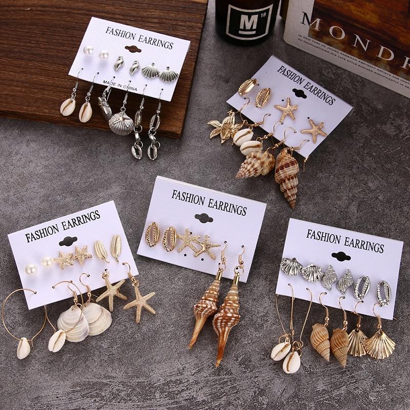 NEW Boho Conch Shell Starfish Drop Earrings Set For Women Vintage Beach Sea Shell Long Tassel EarringsGirl Indian Brincos Jewelr