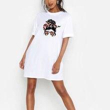 Женское мини платье большого размера Модные леопардовые летние