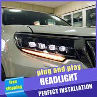 2 pçs estilo do carro faróis led para toyota prado 18-19 para prado lâmpada de cabeça led drl lente feixe duplo h7 hid xenon bi xenon lente