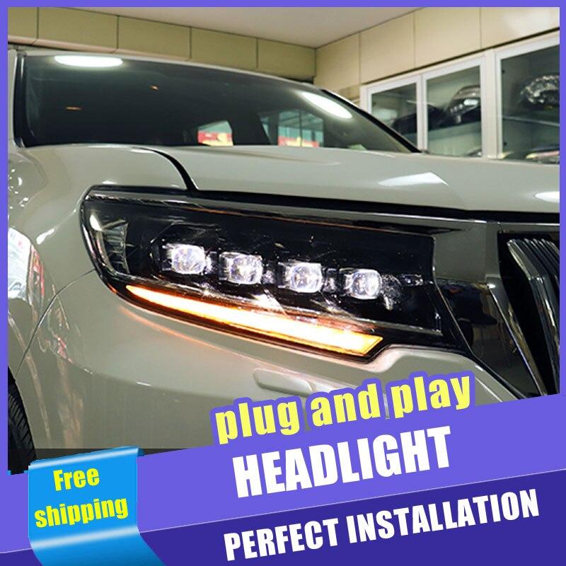 2 pièces voiture Style LED phares pour Toyota prado 18-19 pour prado lampe frontale LED DRL lentille Double faisceau H7 caché xénon bi xénon lentille