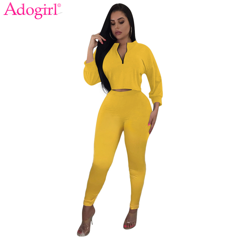 Adogirl Solid Casual Two Piece Set Women Tracksuit Zipper Long Sleeve Sweatshirts Crop Top Pencil Pants Female Fashion Suits