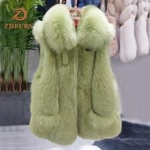 ZDFURS * 2019 nowych kobiet naturalna prawdziwa kamizelka futrzana z lisa zimowa damska kamizelka bez rękawów prawdziwe futro kobiet kamizelka z prawdziwego futra kamizelka
