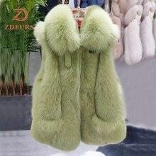 Zdfurs * 2019 Nieuwe Vrouwen Natuurlijke Real Fox Bont Vest Winter Dames Gilet Mouwloze Echt Bontjas Vrouwelijke Echt Bont vest