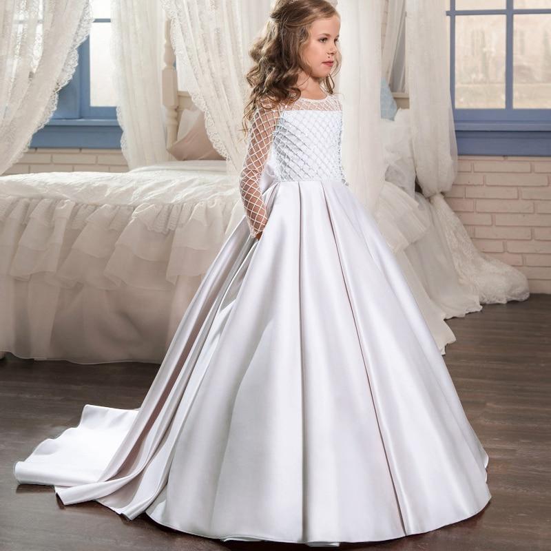 Robe dhiver blanche longue pour filles, robe de princesse, tenue de soirée, pour enfants 10-12 ans, 2020