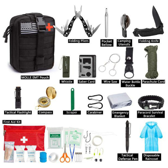 47 IN 1 Emergency Survival Kit Survival First Aid Kit SOS Tactical tool Flashlight Knife with Molle Pouch for Camping Adventures 8