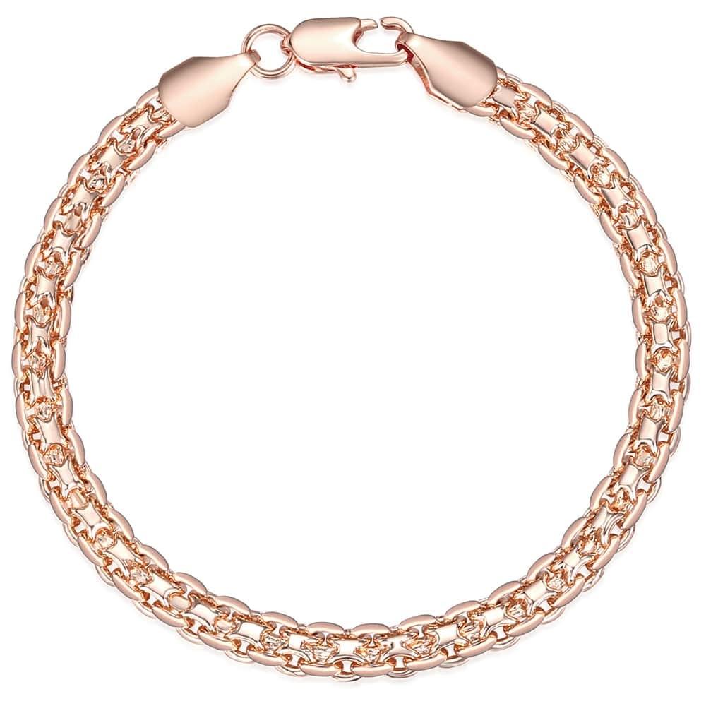 Davieslee Chain Bracelet for Women Weaving Bismark Link Mens Womens Bracelet Chain 585 Rose Gold Filled Jewelry Gift 5mm DGBM99
