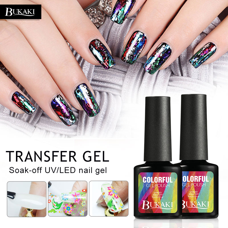 BUKAKI Nail Foils Glue Transfer Decoration DIY Nail Beauty Stickers Accessories Nail Art Design Manicure Gel Lak Polishes