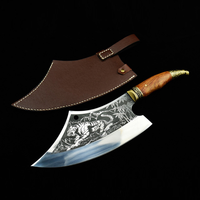 Professional Chinese Kitchen Chef Knife Hand Forged Multifunctional Meat Cleaver Vegetable Cutter Fixed Blade Cooking Tools