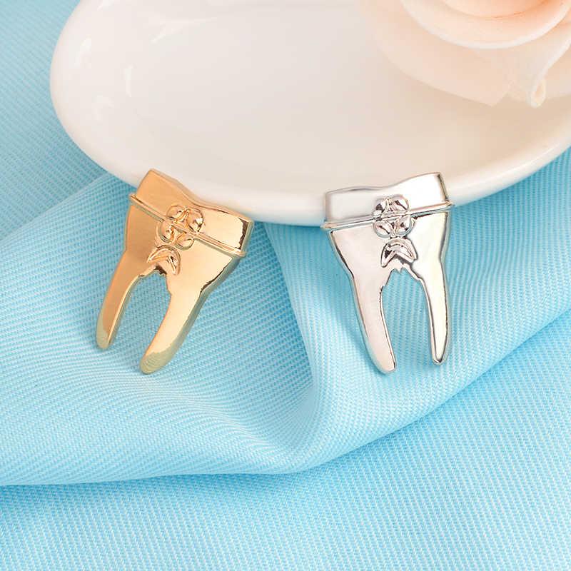 Oro Argento Colore Dentista Dente Spille con Cristalli Gioielli per le Medici Medico Infermiere Studente di Medicina Spilla Biologia Scienza Regalo