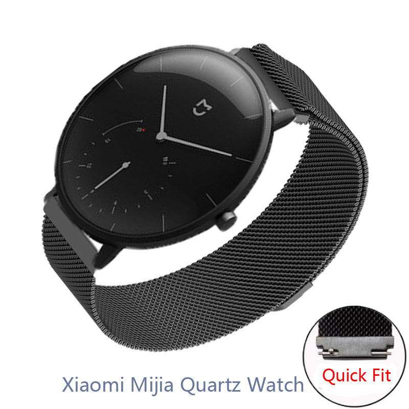 20mm Wristband For Xiaomi Mijia Quartz Watch Strap Strong Magnetic Replace Band Milanese Stainless Steel Bracelet Belt