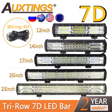 "Auxtings 7D tri row Combo Offroad LED ışık çubuğu 12 14"" 17 ""20"" 23in Led çalışma ışık çubuğu araba kamyon SUV ATV 4x4 4WD 12v 24V"