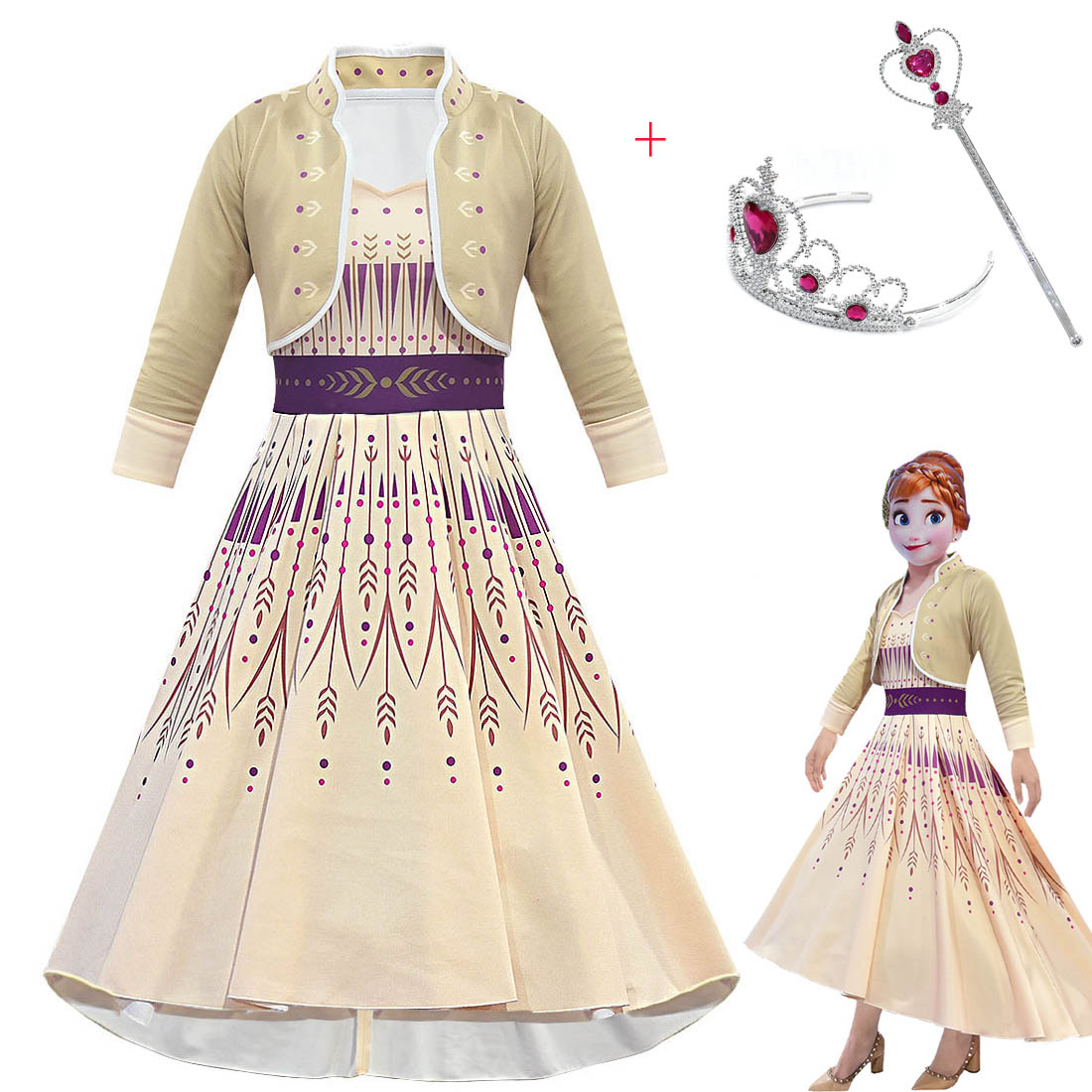 Frozen 2 Cosplay Girls Queen Anna Costume Princess Dresses With Shawl Funny Party Vestidos Fantasia Kids Clothing Set For Girl