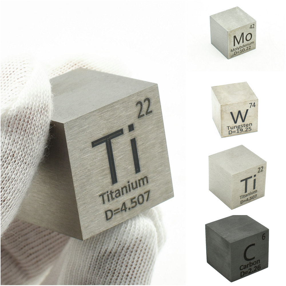 1 Inch Element Cube 25.4mm Metal Density Cubes For Periodic Table Collection Copper Lead Bi Tin Al Titanium Tungsten Mo C Ni
