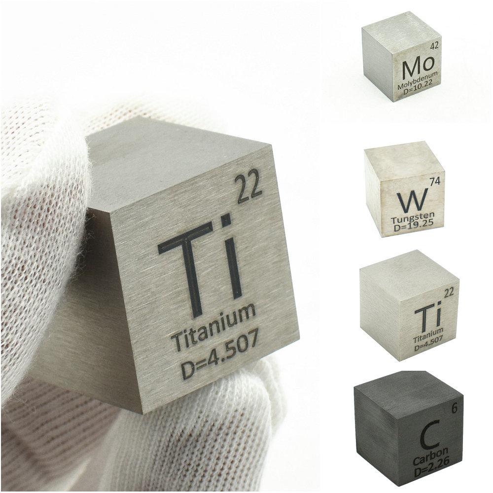 1 Inch Element Cube 25.4mm Metal Density Cubes for Periodic Table Collection Copper Lead Bi Tin Al Titanium Tungsten Mo C Ni