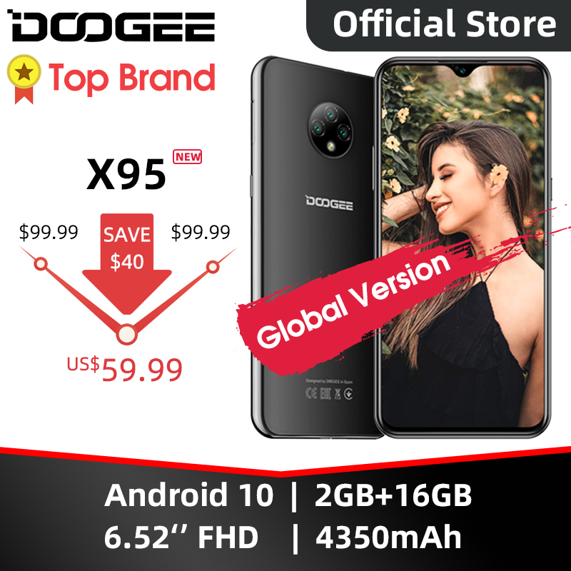 "DOOGEE X95 Cellphones 6.52""MTK6737 16GB ROM Dual SIM 13MP Triple Camera 4350mAh SmartPhones Mobile Phone Android 10 OS 4G-LTE"