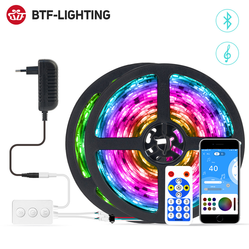 LED Strip Light Bluetooth Music APP Control RGB IC Flexible Multicolor Led Light Strip for Room TV Bedroom Party Kitchen 10M 20M